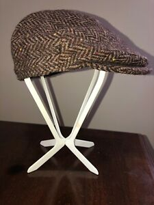 Hanna Hat Irish brown herringbone tweed cap flat vintage style Donegal Ltd. NWOT
