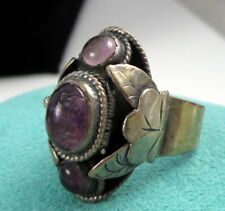 Vintage Huge Mexico Stunning Hidden Poison Flower Sterling Silver Amethyst Ring
