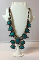 Handcrafted Navajo Old Pawn Sterling Silver Turquoise Necklace Squash Blossom