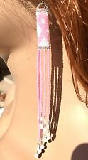 NEW HANDCRAFTED WHITE PINK RIBBON BREAST CANCER AWARENESS HOOK EARRINGS E54/31
