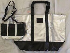 Victoria Secret XL Metallic Tote Bag Weekender+ Matching Crossbody NWT Free Ship