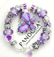 Authentic Pandora Silver Bracelet Purple Butterfly MOM MOTHER European Charms
