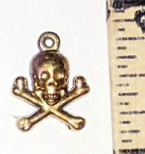 22 Kt gold fill charm skull cross bones, fine unique Halloween jewelry