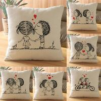 Lovers Paint Linen Lovers Cushion Cover Throw Waist Pillow Case Sofa Home Decor