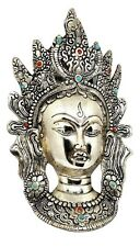 "Goddess Tara Face Mask Tibetan Decorative 10"" Wall Hanging Metal Statue Idol"