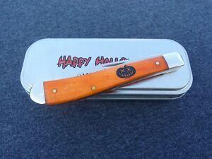CASE XX m 2014 HALLOWEEN PERSIMMON ORANGE PUMPKIN CARVER SLIMLINE TRAPPER KNIVES
