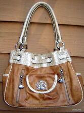 KATHY VAN ZEELAND brown leather/alligator vinyl Belted CROWN PURSE/handbag