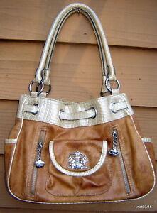 KATHY VAN ZEELAND brown faux leather/alligator vinyl Belted CROWN PURSE/handbag