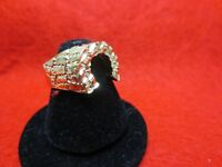 SIZE 8-13 , 14KT GOLD PLATED HORSESHOE LUCKY NUGGET BLING BLING RING