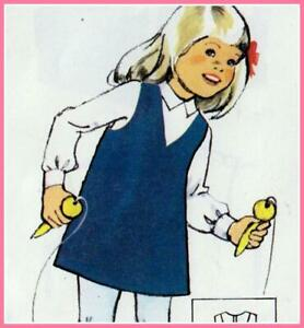 Vintage 70s GIRLS PINAFORE DRESS Sewing Pattern UNCUT 6 8 & 10 Years JUMPER