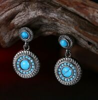 5mm Round Blue Sleeping Beauty Turquoise 18K White Gold Plated Stud Earrings