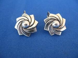 Sterling pinwheel star whirl earrings clip small