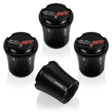 C6 Corvette Black Logo Tire Valve Stem Caps Licensed - (Set of 4)