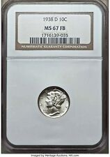 1938 D 10C MERCURY DIME SILVER NGC MS67-FB FULL BANDS Mintage: 5,537,000 CLASSIC