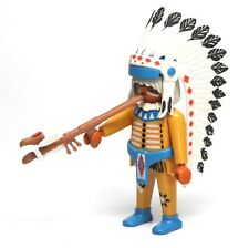Playmobil Figure Western Old Indian Chief w/ Peace Pipe Feather Headdress 3870