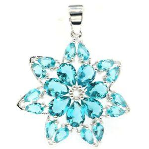 Elegant Star Shape Rich Blue Aquamarine Jewelry For Woman's Silver Pendant