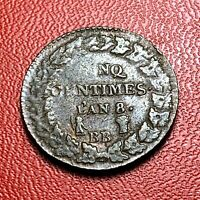 #3843 - RARE - 5 centimes AN8 BB Strasbourg TTB+ Belle qualité coin bouché