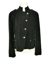 Principles black velour cotton button down smart evening military jacket size 16