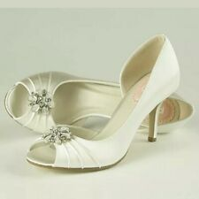 Pink Paradox Wedding Bridal Shoes Ivory Satin Size 41 7.5 (8)