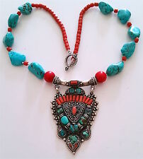 """*Exquisite Vintage Natural 925 Silver Turquoise/Coral Necklace, 20"""" long"""