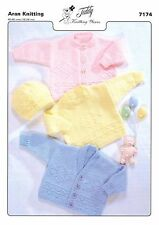 7174 Aran Knitting Pattern for Baby Sweater, Cardigans & Hat