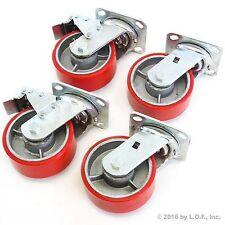 "4 Red Wheel Casters Set 5"" Wheels All Swivel Heavy Duty Iron Hub No Mark 2 Brake"
