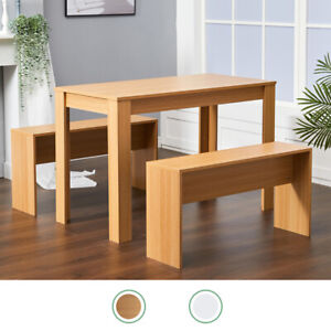 3x Dining Table and Chairs Bench Set Breakfast Bar Kitchen Dining Room Furniture