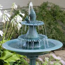 Bird Bath Fountains Pedestal Garden Outdoor Water Pump Patio Fish Decor Yard New