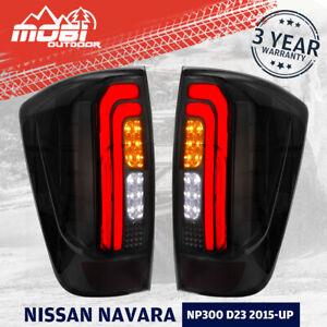MOBI Smoked LED Tail Lights For NISSAN NAVARA NP300 D23 2015-UP Plug & Play Pair
