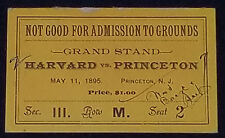 MAY 11,1895 - HARVARD vs PRINCETON - COLLEGE BASEBALL - TICKET - ORIGINAL