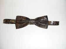 Brown Lizard Print 100% Real Leather Bow Tie. Rare-Unique Item. Offer £16.99