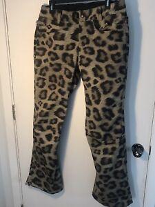 686 Cheetah Print Pant Women's Insulated Waterproof Snow Snowboarding Ski Large