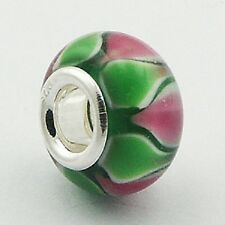 Murano Glass Bead Lotus 14mm High Sterling Silver Core for Charm Bracelet