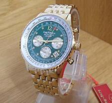 Mens Gold Bracelet Green Krug-Baumen Air Traveller Pilots Chrono Watch 400108DS