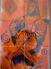 Tableau carreaux céramique décor peint femme stylisé signée C. Lion
