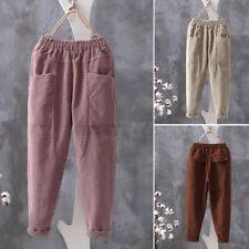 Womens Elastic Waist Corduroy Casual Loose Baggy Pants Cargo Harem Trousers Plus