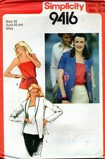 1980s Simplicity Sewing Pattern 9416 Misses Camisole and Unlined Jackets Size 10