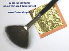 23 Karat essbares Blattgold 25 Blatt ca. 40x40 mm Fächerpinsel Gourmetgold DEKO