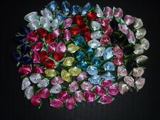 100 Satin Ribbon Roses -Multicolor-Sewing Bow Craft- New