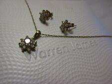 warren james matching 9ct gold & cz cluster necklace & earrings set