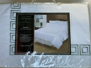 NEW Hotel Collection 8 Pc Set Embroidered Queen Duvet+Bed Skirt/Sham/Fitted/Flat