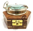 Vintage A THOUSAND MILE JOURNEY QUOTE ~ TRANSPARENT GLASS COMPASS MAGNETIC