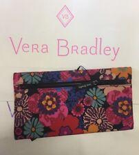 Vera Bradley Lighten Up Pencil Pouch Floral Fiesta Makeup Cosmetic Case