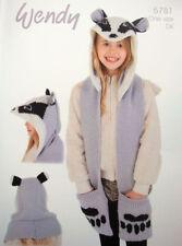 Kids badger scarf hood dk knitting pattern Wendy 5781