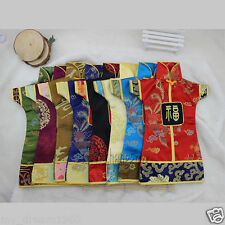 Wholesale 10pcs Oriental Chinese Dress Silk Wine Bottle Covers Gift Party Decor