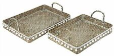 Set Of 2 Pompom Trays With Handles ~  Rattan and Seagrass Serving Trays