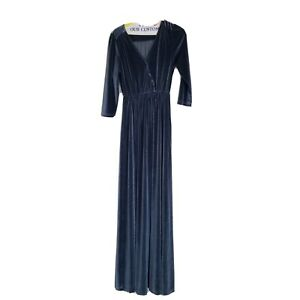 Baltic Born Sofia Blue Long Velvet Maxi Dress 3/4 Sleeves V Neck Womens Sz Small
