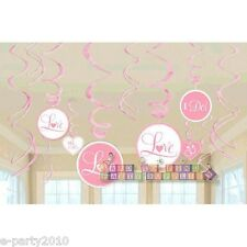 PINK WEDDING BRIDAL PARTY SWIRL DECORATIONS (12) ~ Engagement Shower Supplies