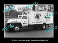 OLD LARGE HISTORIC PHOTO OF CINCINNATI OHIO, THE RED TOP BEER TRUCK c1950
