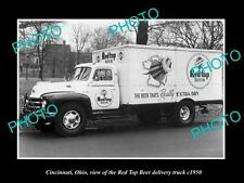 OLD LARGE HISTORIC PHOTO OF CINCINNATI OHIO, THE RED TOP BEER TRUCK c1950